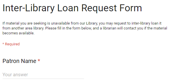 Interlibrary Loan Form